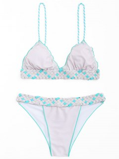 Frilled Macrame Scrunch Butt Bikini Set - Pink + Grey S