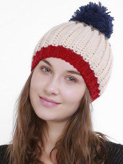 Color Block Flanging Pom Knitting Beanie - Beige