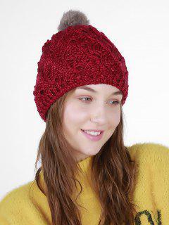 Fan Shape Crochet Knit Pom Hat - Dark Red