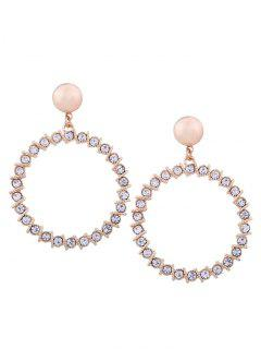 Alloy Rhinestone Circle Hoop Drop Earrings - Golden