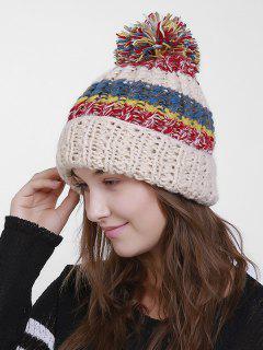 Color Block Flanging Crochet Knit Pom Hat - Beige