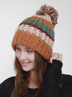 Color Block Flanging Crochet Knit Pom Hat - Orange
