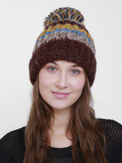 Color Block Flanging Crochet Knit Pom Hat - Coffee