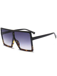 Full Frame Square Oversized Sunglasses - Black+leopard C2