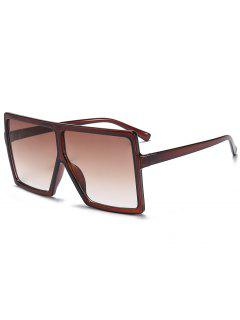 Full Frame Square Oversized Sunglasses - Tea-colored