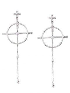 Alloy Cross Circle Chain Drop Earrings - Silver