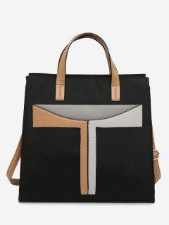 Faux Leather Color Block Handbag With Strap - Brown