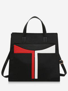 Faux Leather Color Block Handbag With Strap - Black