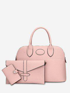 Stitching 3 Pieces Faux Leather Handbag Set - Pink