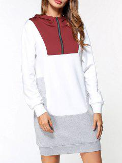 Half-zip Color Block Fleece Hoodie Dress - White M
