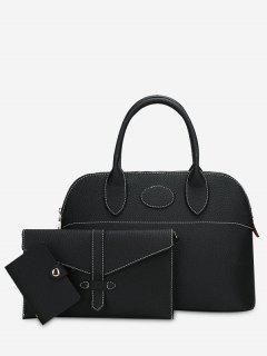 Stitching 3 Pieces Faux Leather Handbag Set - Black
