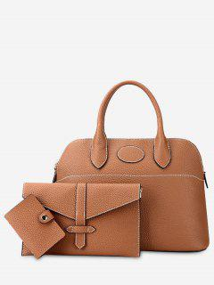 Stitching 3 Pieces Faux Leather Handbag Set - Brown