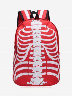 Skull Noctilucence Striped Backpack - Red