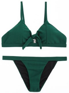 Ribbed Low Waisted Bikini Set - Dunkelgrün S