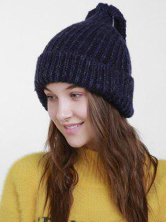 Christmas Flanging Knit Hat With Tail - Purplish Blue
