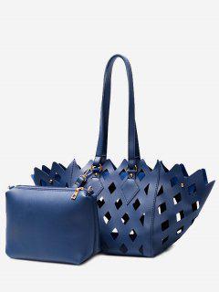 Laser 2 Pieces Cut Out Shoulder Bag Set - Blue
