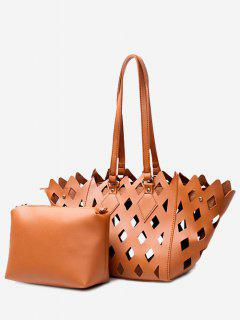 Laser 2 Pieces Cut Out Shoulder Bag Set - Brown