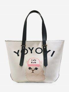 Letter Cat Print Shoulder Bag - White