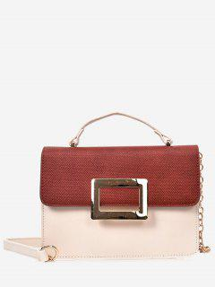 Metal Detailed Color Block Chain Crossbody Bag - White And Brown