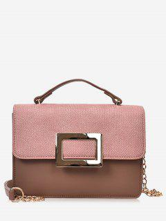 Metal Detailed Color Block Chain Crossbody Bag - Pinkish Brown