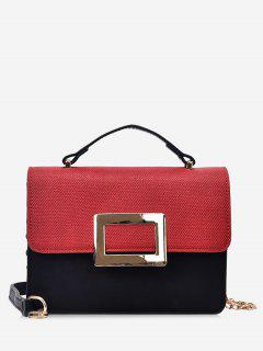 Metal Detailed Color Block Chain Crossbody Bag - Red With Black