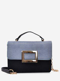 Metal Detailed Color Block Chain Crossbody Bag - Blue And Black