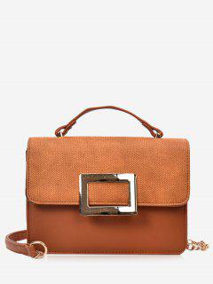 Metal Detailed Color Block Chain Crossbody Bag - Brown