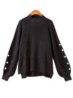 Lantern Sleeve Side Slit Beaded Sweater - Black Xl