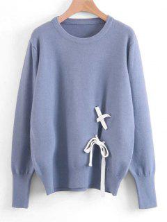 Contrast Lace Up Sweater - Blue