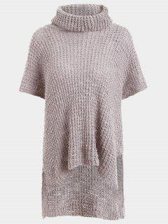 Sheer Turtleneck High Low Sweater - Gray