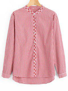 Button Down Plaid High Low Shirt - Red