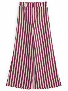 Stripes High Waisted Wide Leg Pants - Stripe L
