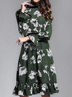 Ruffle Neck Floral Print Dress - Deep Green M