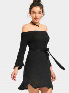 Off Shoulder Mini Belted Knitted Dress - Black S