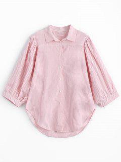 Batwing Stripes Shirt - Pink M