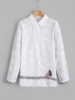 Chemise Brodée Contrastante Boutonnée - Blanc