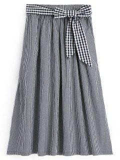 Checked Bowknot A Line Maxi Skirt - Checked M