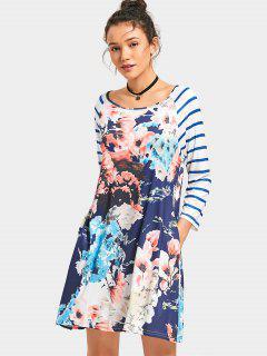 Vestido Rayado Con Estampado De Flores - Floral S