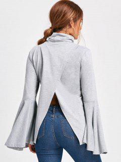 High Neck Flare Sleeve Top - Light Gray Xl