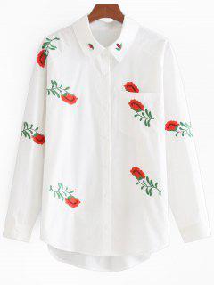Chemise Brodée Florale à Poche Et Boutons - Blanc S