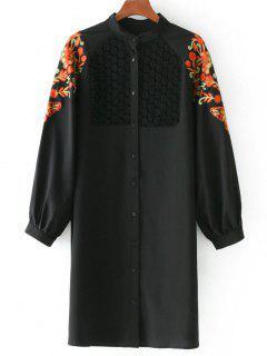 Floral Patched Lace Panel Longline Blouse - Black M