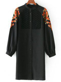Floral Patched Lace Panel Longline Blouse - Black S