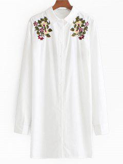 Chemise Longue Boutonnée à Broderie Florale - Blanc S