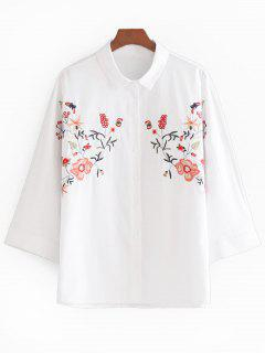 Blume Gepatcht Longline-Button-Up-Shirt - Weiß S