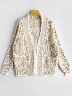 Collarless Cardigan With Pockets - Light Apricot