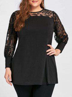 Plus Size See Through Yoke Panel A Line Top - Black 3xl