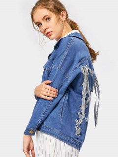 Back Lace Up Pockets Denim Jacket - Blue S