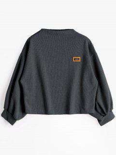 Badge Patched Lantern Sleeve Sweatshirt - Deep Gray
