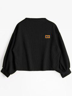 Badge Patched Lantern Sleeve Sweatshirt - Black
