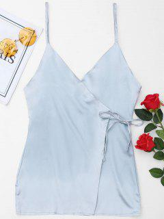 Satin Wrap Slip Dress - Light Blue L